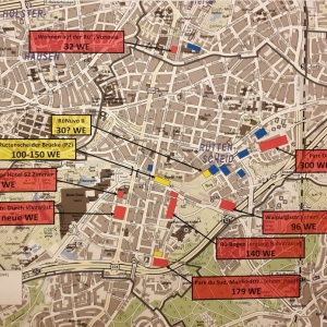 Übersichtskarte von Rüttenscheid und den in Bau befindlichen bzw. geplanten Bauvorhaben